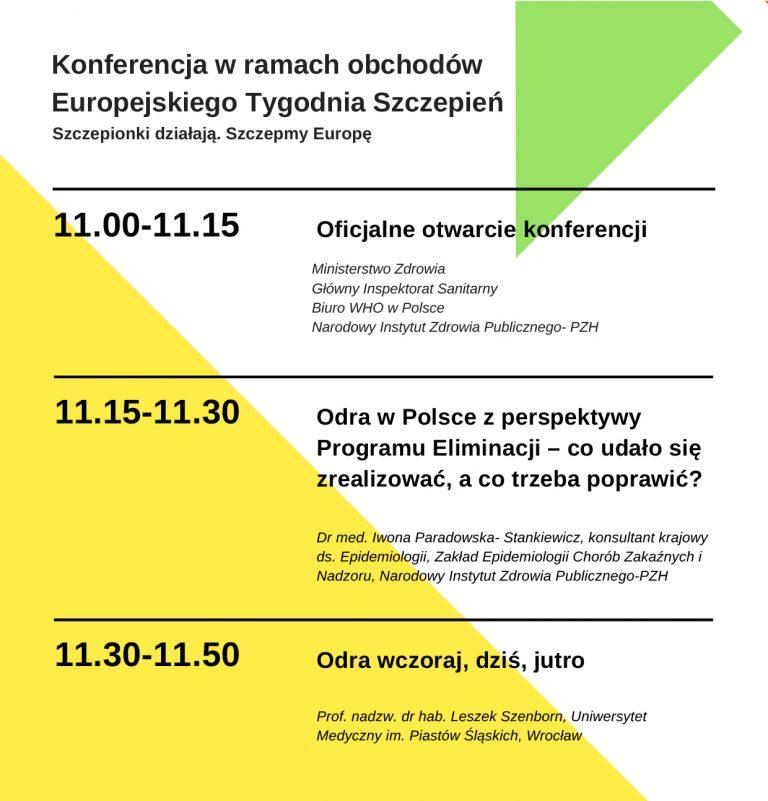 """25.04.2018 Konferencja popularno-naukowa """"Szczepienia działają. Szczepmy Europę"""""""