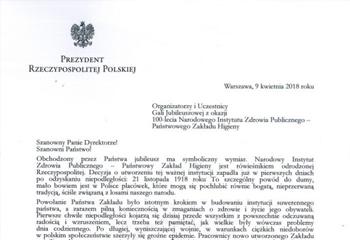 11-04-2018  List Gratulacyjny od Prezydenta Andrzeja Dudy z okazji 100-lecia NIZP-PZH
