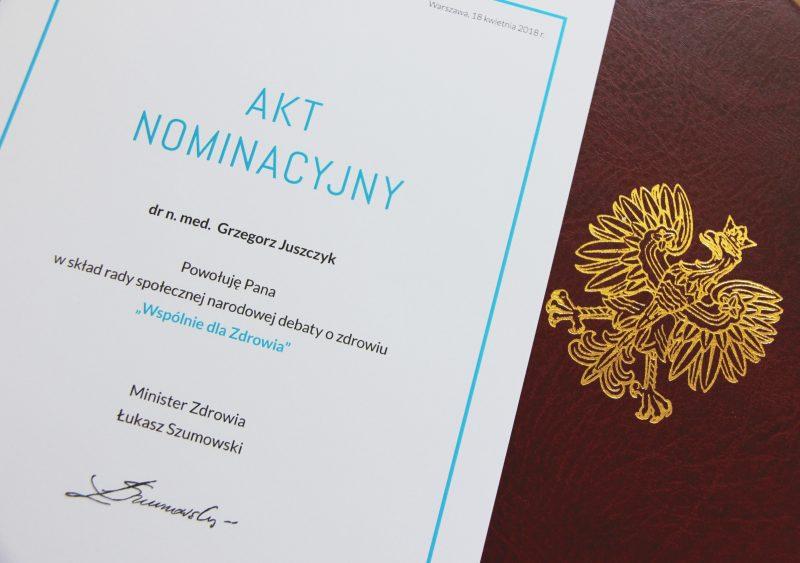 """18-04-2018  Akt Nominacyjny do Rady Narodowej Debaty """"Wspólnie dla Zdrowia"""""""