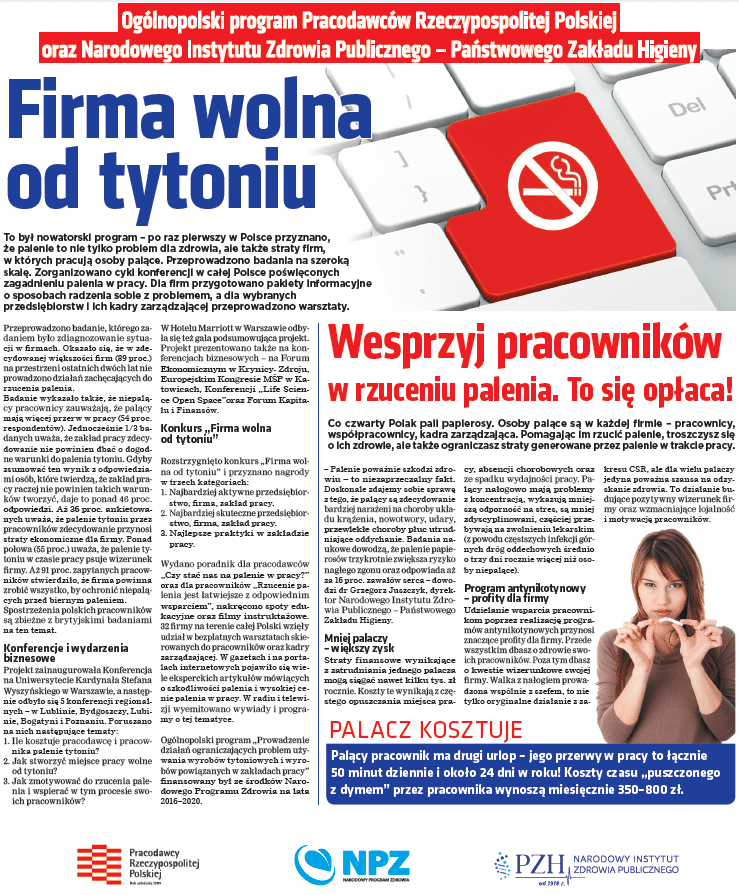 """Podsumowanie projektu """"Firma wolna od tytoniu"""""""