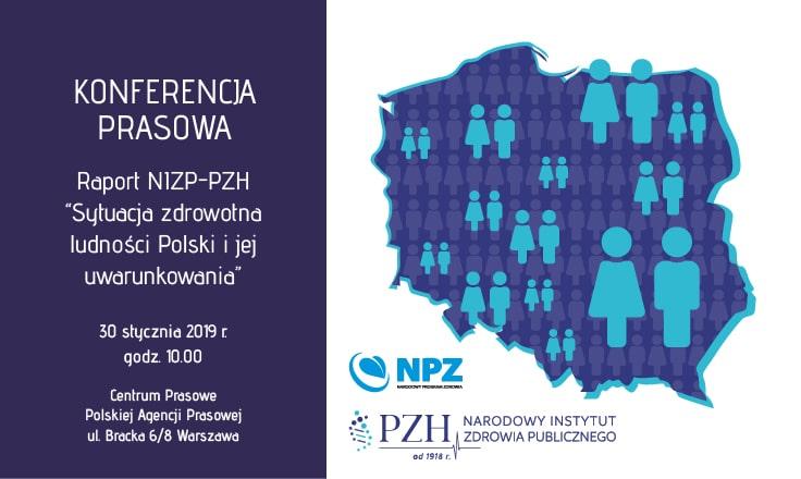 """Konferencja prasowa poświęcona prezentacji raportu NIZP-PZH """"Sytuacja zdrowotna ludności Polski i jej uwarunkowania"""" 30.01.19r."""