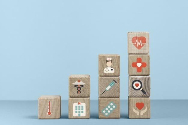 Klocki z ikonami symbolizującymi zdrowie publiczne