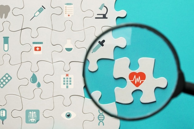 Puzzle z ikonami zdrowia i szkło powiększające
