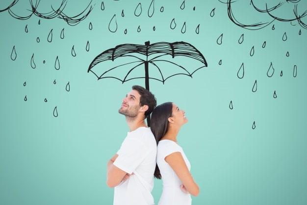 Para pod narysowanym parasolem
