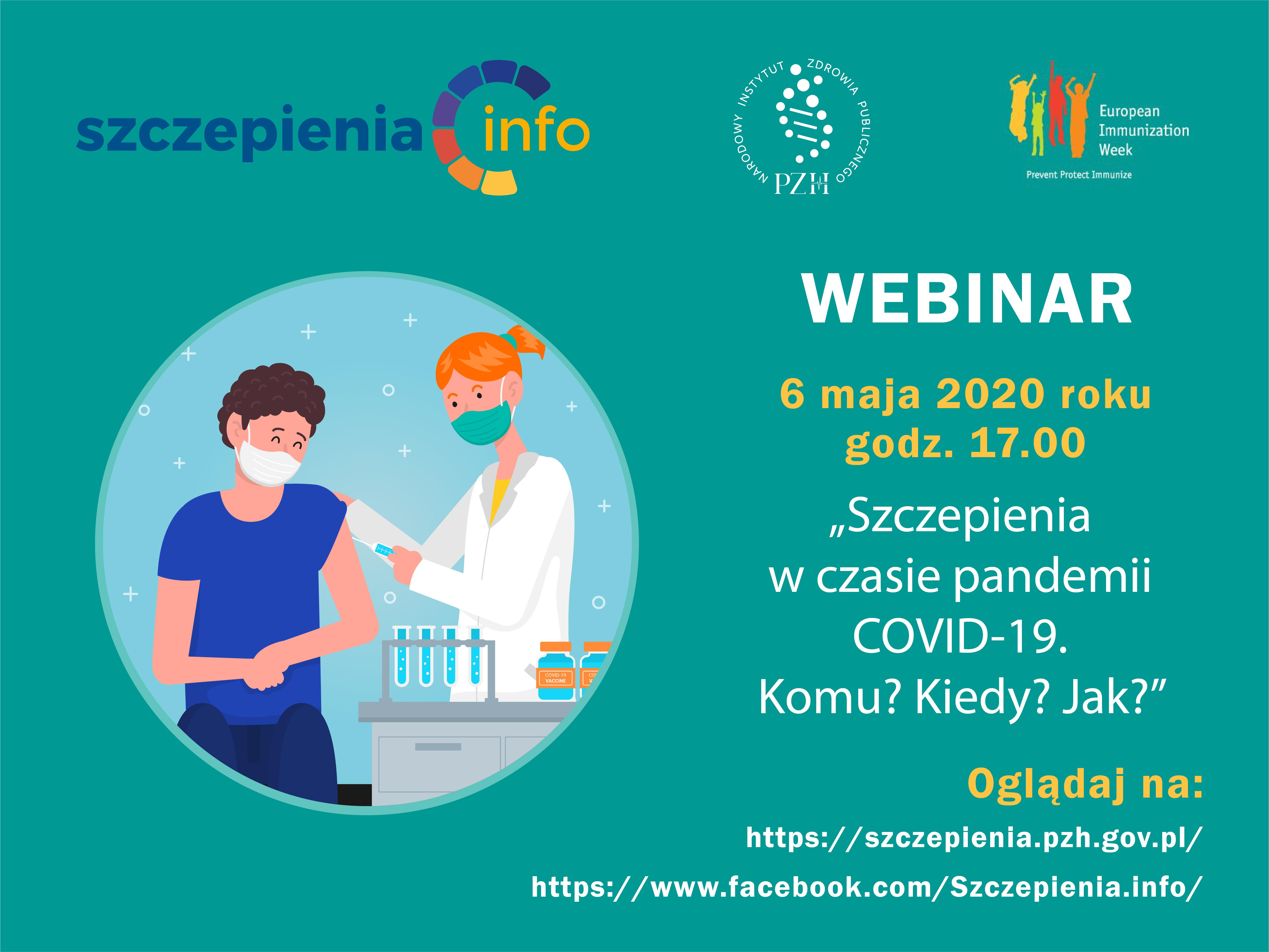 """Zapraszamy na webinar w ramach Europejskiego Tygodnia Szczepień """"Szczepienia w czasie pandemii COVID-19. Komu? Kiedy? Jak?"""""""