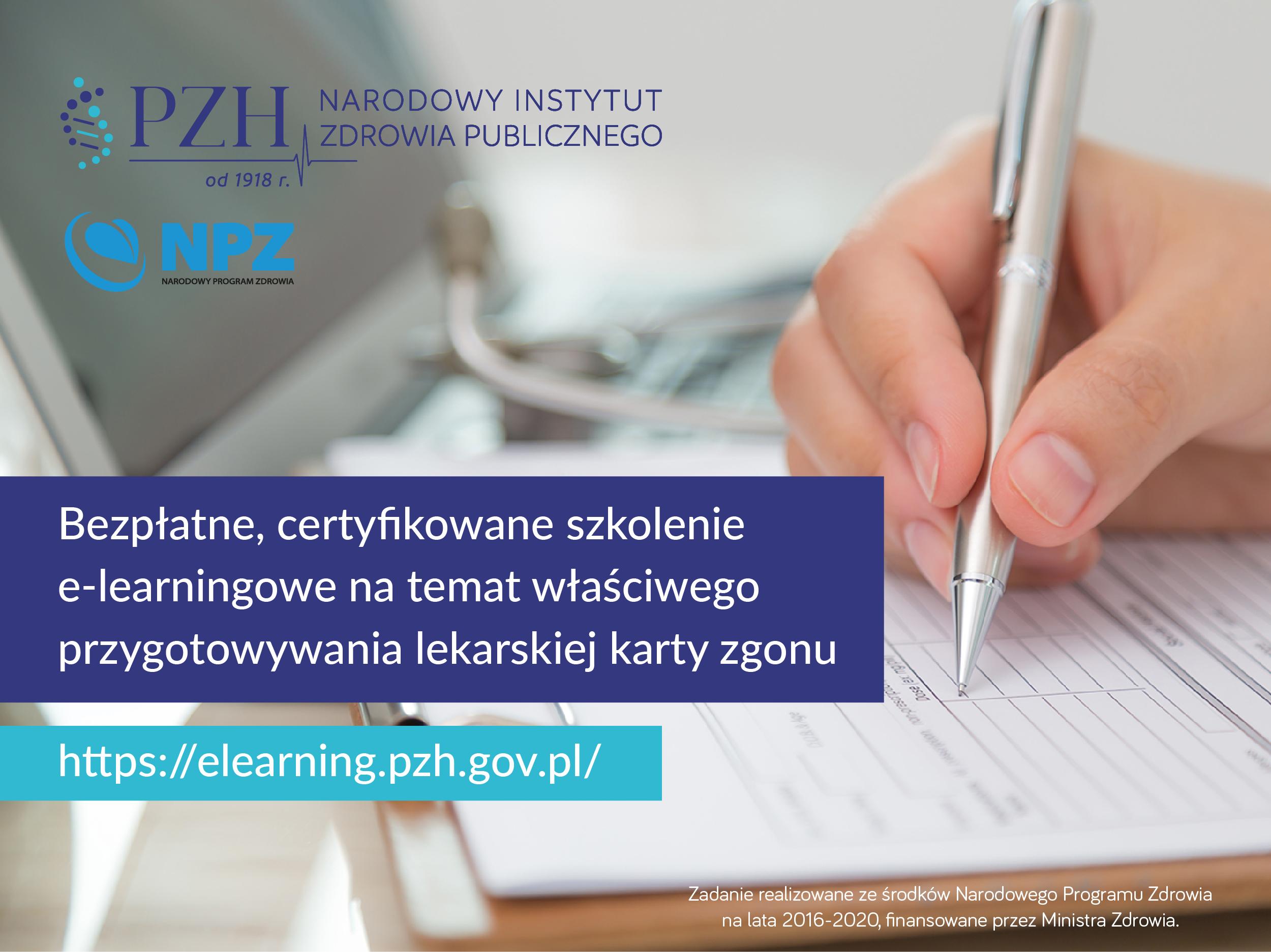 Zaproszenie na szkolenie e-learningowe na temat właściwego przygotowywania lekarskiej karty zgonu.