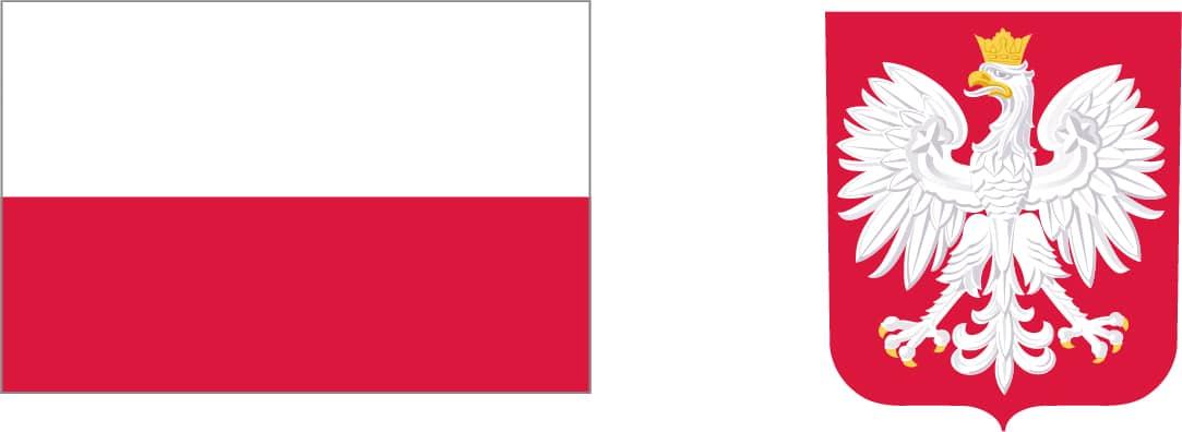 Po lewej stronie graficzny pełnokolorowy znak barw Rzeczypospolitej Polskiej po prawej stronie herb na czerwonym tle rze biały ze złotą koroną