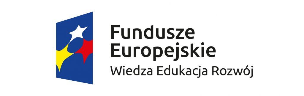 Fundusze Europejskie Polska Cyfrowa po lewej stronie znak graficzny na tle niebieskiego trapezu układ połączonych gwiazd po prawej stronie czarny napis Fundusze Europejskie Wiedza Edukacja Rozwój