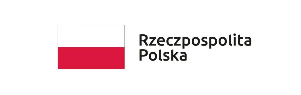 Po lewej stronie graficzny pełnokolorowy znak barw Rzeczypospolitej Polskiej po prawej stronie czarny napis Rzeczpospolita Polska
