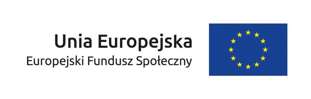 Z lewej strony napis Unia Europejska, pod nim napis Europejskie Fundusz Społeczny. Obok logotyp na granatowym tle 12 żółtych gwiazdek tworzących okrąg