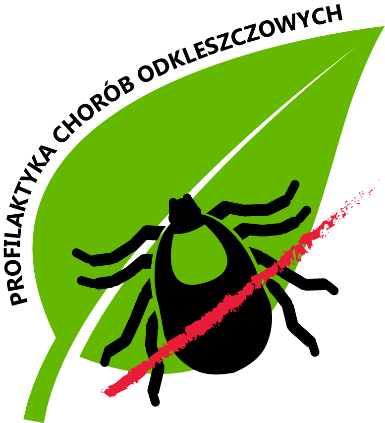Logo zielony listek na nim czarny kleszcz przekreślony czerwoną kreską, a z boku liścia napis Profilaktyka Chorób Odkleszczowych