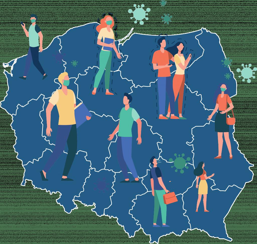 Mapa Polski z ludzikami